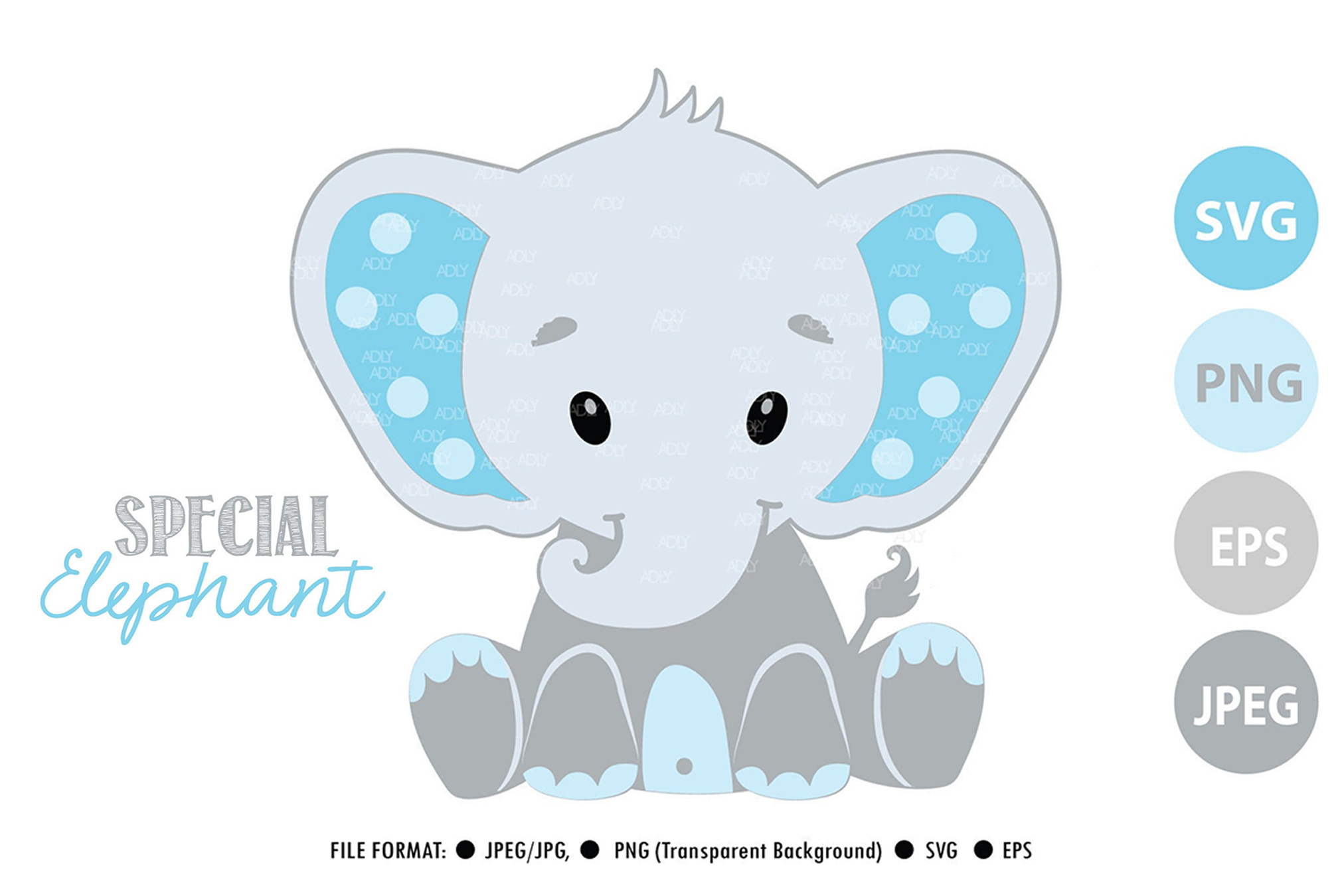 Download Free Cute Baby Elephant Graphic By Adlydigital Creative Fabrica for Cricut Explore, Silhouette and other cutting machines.