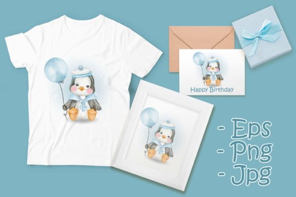 Print on Demand: Cute Baby Penguin with Marine Uniform Graphic Illustrations By OrchidArt