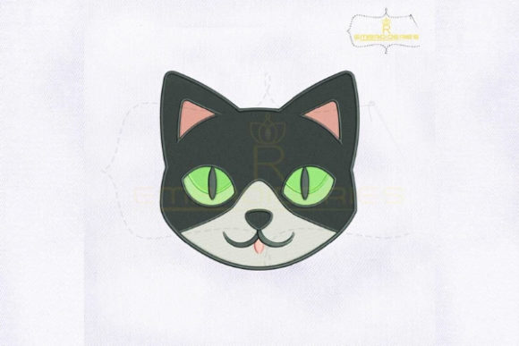 Cute Cat Face Cats Embroidery Design By royalembroideries