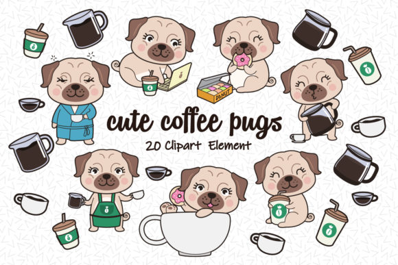 Print on Demand: Cute Pugs Clipart Graphic Illustrations By accaliadigital