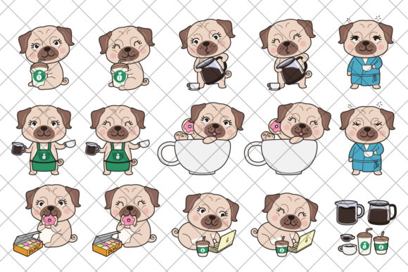 Print on Demand: Cute Pugs Clipart Graphic Illustrations By accaliadigital - Image 2