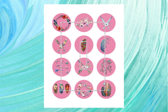 Download Free Dreamcatcher Feather Pendants Magnets Graphic By for Cricut Explore, Silhouette and other cutting machines.