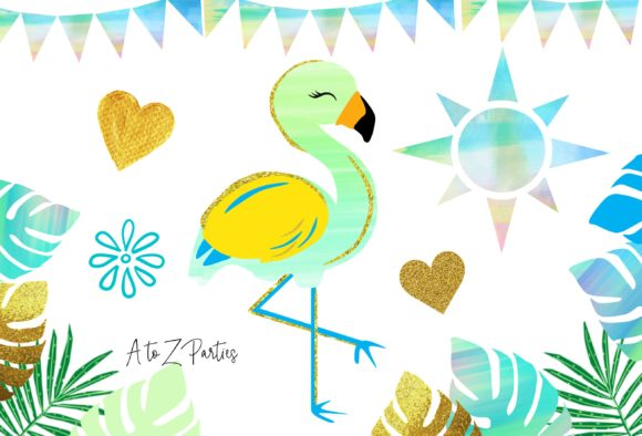 Print on Demand: Flamingo Tropical Watercolor Glitter Set Graphic Illustrations By A to Z Parties