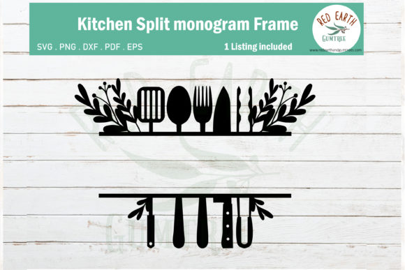 Download Free Floral Kitchen Split Monogram Frame Graphic By Redearth And for Cricut Explore, Silhouette and other cutting machines.