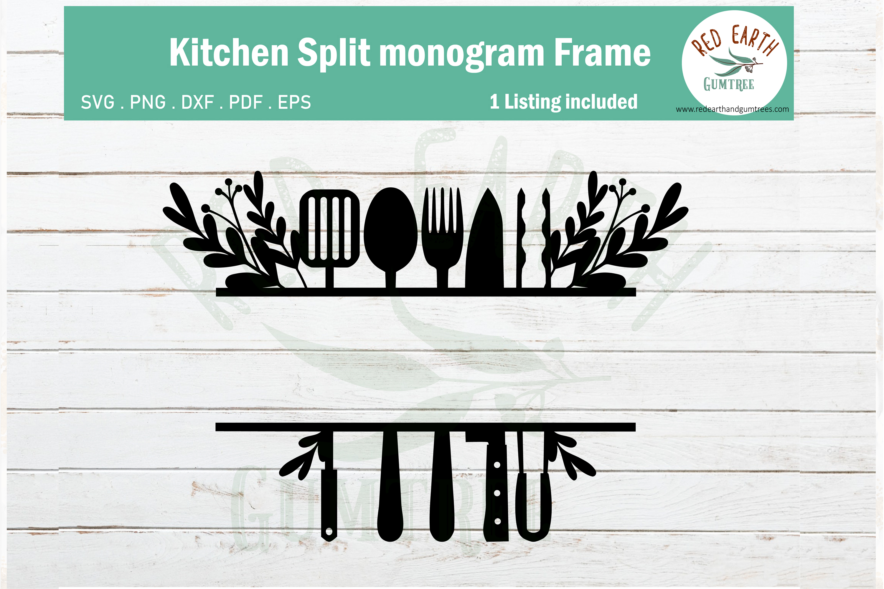 Floral Kitchen Split Monogram Frame Graphic By Redearth And
