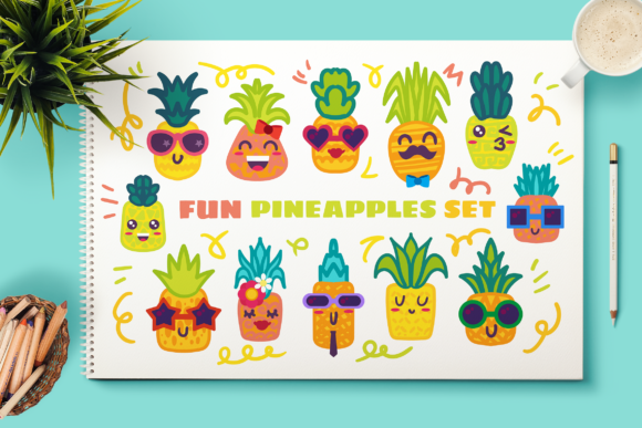 Print on Demand: Fun Pineapple Characters Set Graphic Illustrations By barsrsind