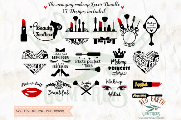 Glamour and Makeup Monograms Bundle Graphic Crafts By redearth and gumtrees