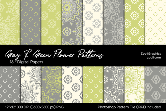 Gray & Green Flower Digital Papers Gráfico Moldes Por ZoollGraphics
