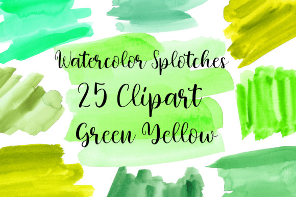 Green Yellow Watercolor Splotches Gráfico Texturas Por PinkPearly