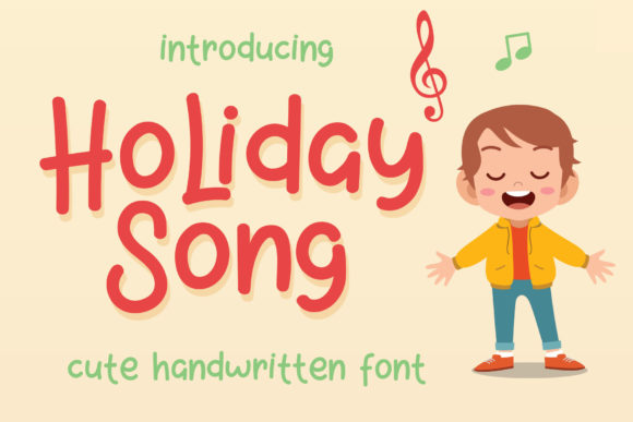 Download Free Holiday Song Font By Josgandos Creative Fabrica for Cricut Explore, Silhouette and other cutting machines.