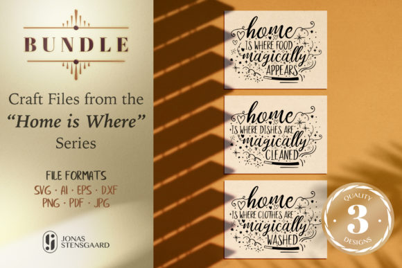 Download Free Home Is Magic Funny Quote Bundle Graphic By Jonas Stensgaard for Cricut Explore, Silhouette and other cutting machines.