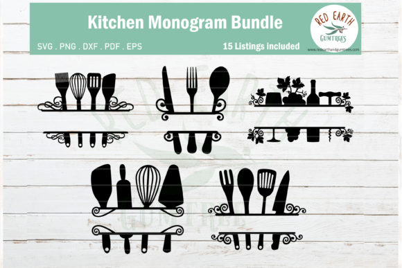 Download Free Kitchen Baking Monogram Frame Bundle Graphic By Redearth And for Cricut Explore, Silhouette and other cutting machines.