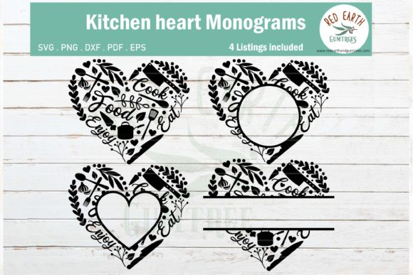 Kitchen Heart Monogram Frame Bundle Graphic Crafts By redearth and gumtrees