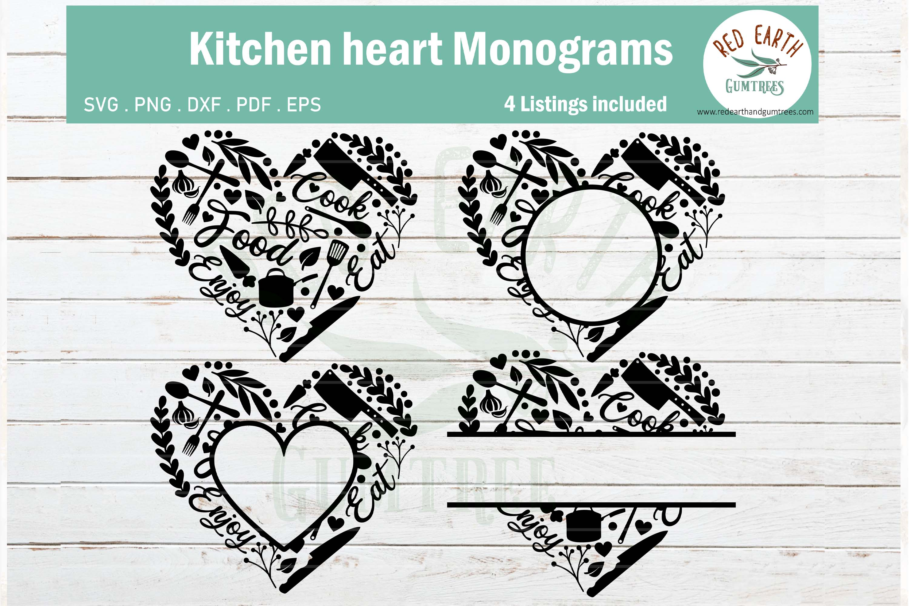 Download Free Kitchen Heart Monogram Frame Bundle Graphic By Redearth And for Cricut Explore, Silhouette and other cutting machines.