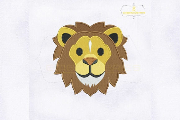 Lion Face Emoji Wild Animals Embroidery Design By RoyalEmbroideries