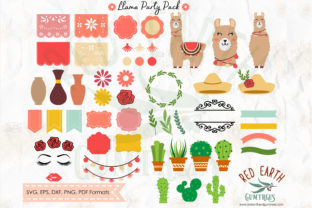 Llama Birthday Party Elements Bundle Graphic Crafts By redearth and gumtrees