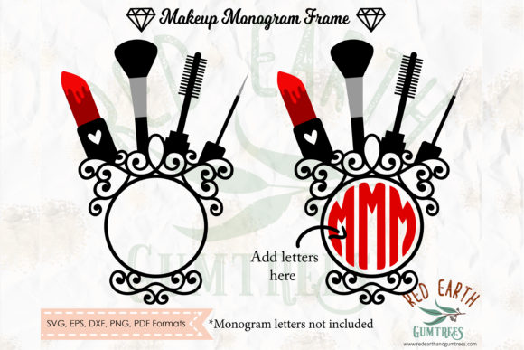 Download Free Makeup Glamour Circle Monogram Frame Graphic By Redearth And for Cricut Explore, Silhouette and other cutting machines.