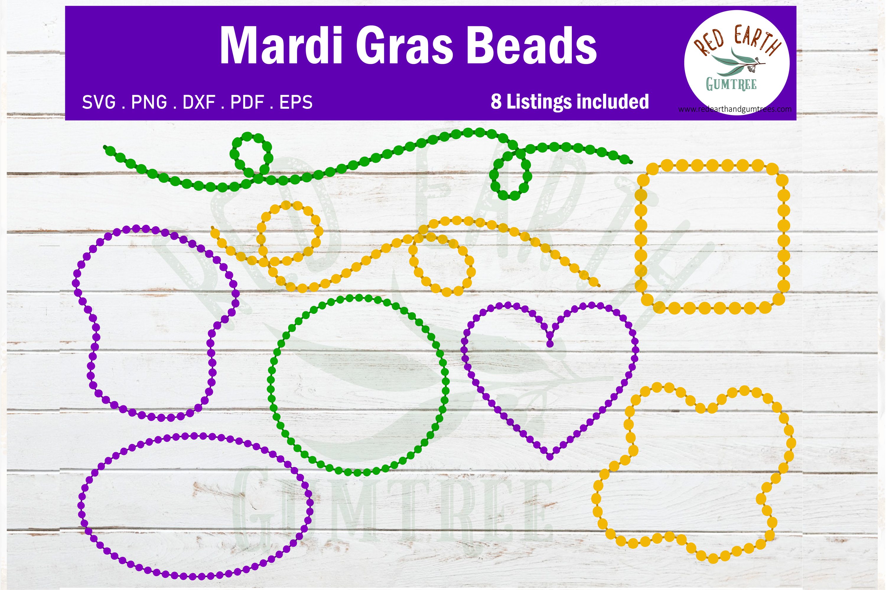 Download Free Mardi Gras Beads Bundle Graphic By Redearth And Gumtrees for Cricut Explore, Silhouette and other cutting machines.