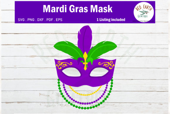 Mardi Gras Mask Feathers and Beads Graphic Crafts By redearth and gumtrees - Image 1
