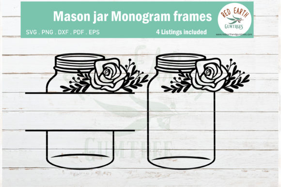 Download Free Mason Jar Monogram Bundle Graphic By Redearth And Gumtrees for Cricut Explore, Silhouette and other cutting machines.