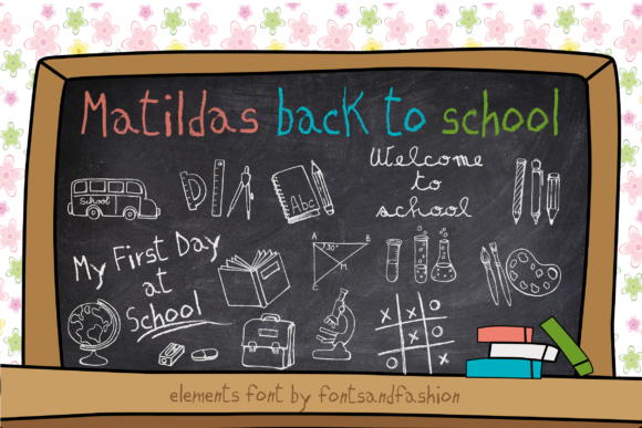 Print on Demand: Matildas Back to School Dingbats Font By Fontsandfashion