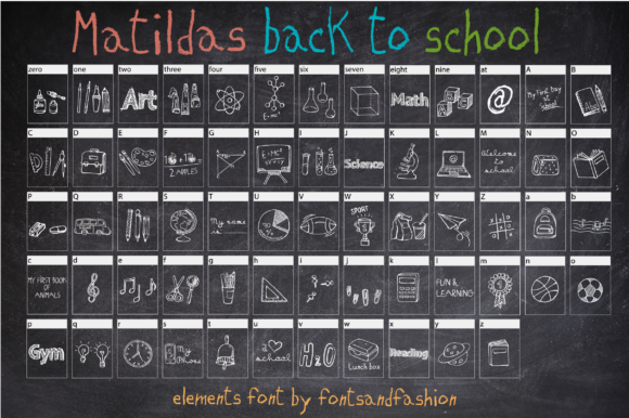 Print on Demand: Matildas Back to School Dingbats Font By Fontsandfashion - Image 2