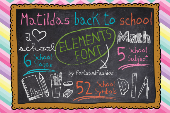 Print on Demand: Matildas Back to School Dingbats Font By Fontsandfashion - Image 4