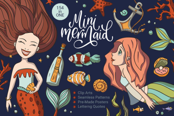 Download Free Mini Mermaid Big Graphic Graphic By Red Ink Creative Fabrica for Cricut Explore, Silhouette and other cutting machines.