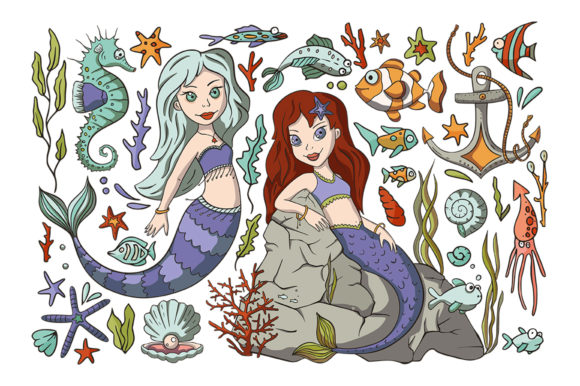 Mini Mermaid Big Graphic Graphic By Red Ink Creative Fabrica