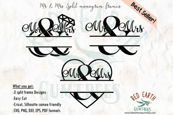 Download Free Mr Mrs Wedding Monogram Frames Graphic By Redearth And for Cricut Explore, Silhouette and other cutting machines.