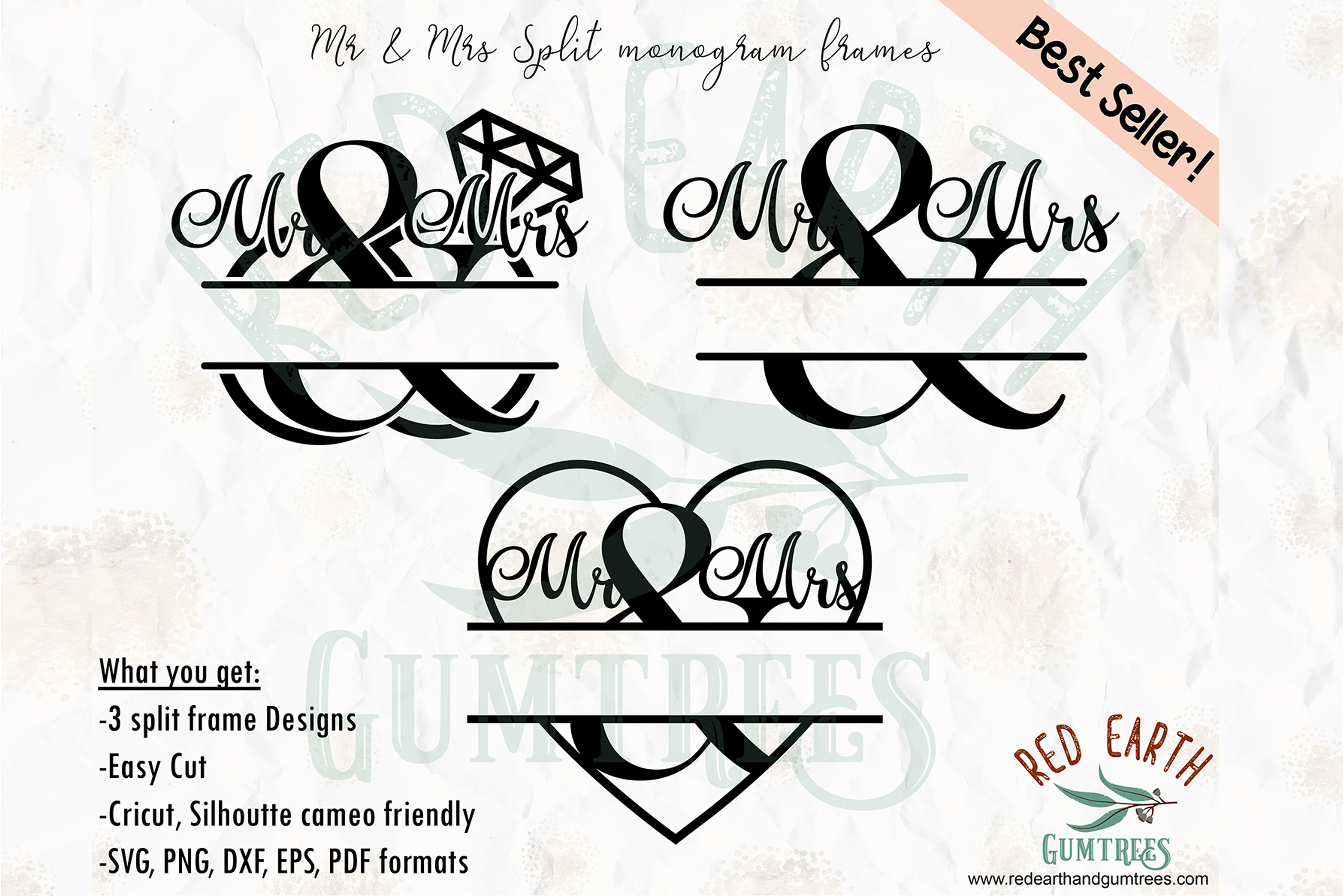 Mr Mrs Wedding Monogram Frames Graphic By Redearth And