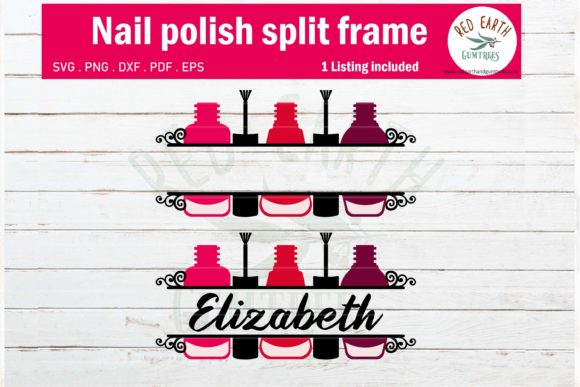 Download Free Nail Polish Split Monogram Frame Graphic By Redearth And for Cricut Explore, Silhouette and other cutting machines.