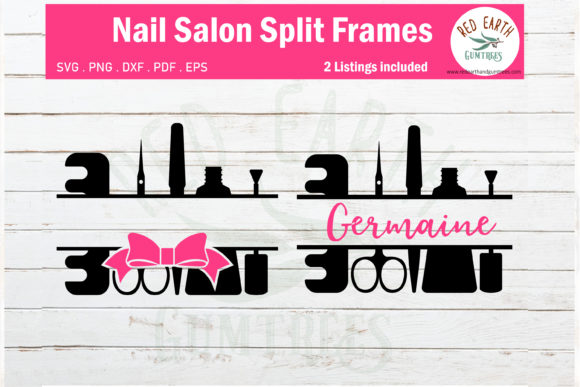Nail Salon Split Monogram Frame Graphic Crafts By redearth and gumtrees