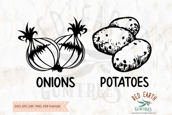 Download Free Onion And Potato Kitchen Sack Decal Graphic By Redearth And for Cricut Explore, Silhouette and other cutting machines.