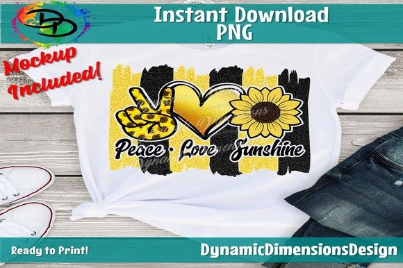 Download Free Peace Love Sunshine Sublimation Graphic By Dynamicdimensions for Cricut Explore, Silhouette and other cutting machines.