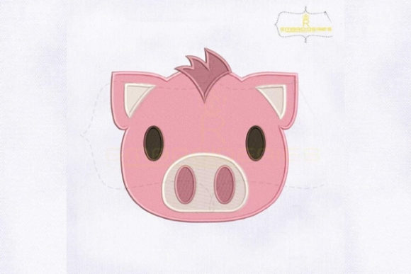 Pink Pig Emoji Farm Animals Embroidery Design By RoyalEmbroideries - Image 1