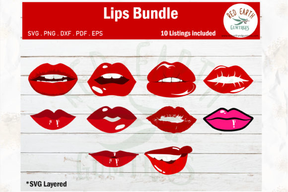Red Lips Bundle Graphic Crafts By redearth and gumtrees