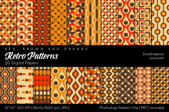 Retro Patterns Digital Papers Graphic Patterns By ZoollGraphics