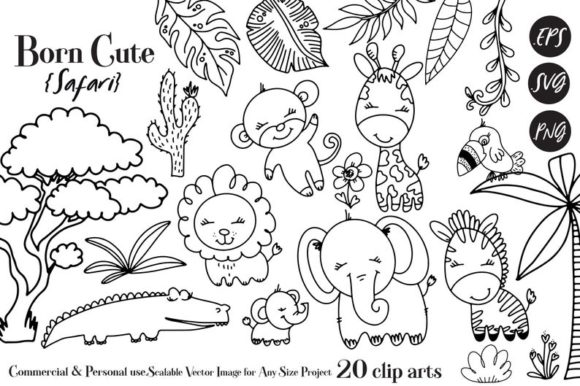 Download Free Safari Animals Graphic By Adlydigital Creative Fabrica for Cricut Explore, Silhouette and other cutting machines.