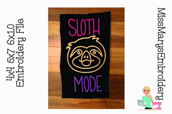 Sloth Mode Embroidery Design Wild Animals Embroidery Design By MissMarysEmbroidery