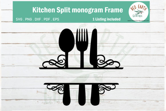 Swirl Kitchen Split Monogram Frame Graphic Crafts By redearth and gumtrees