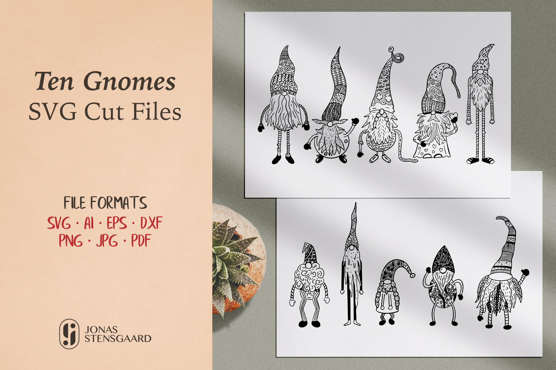 Download Free Ten Gnomes Graphic By Jonas Stensgaard Creative Fabrica for Cricut Explore, Silhouette and other cutting machines.