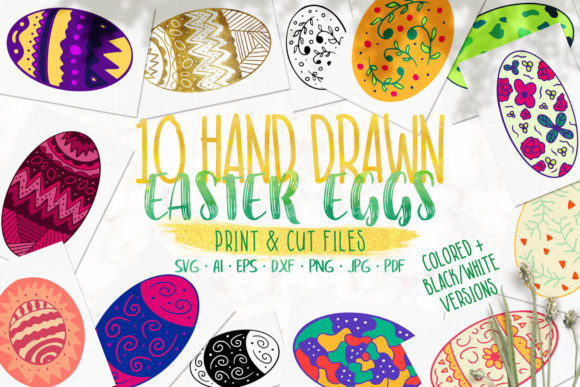 Download Free Ten Hand Drawn Easter Eggs Graphic By Jonas Stensgaard for Cricut Explore, Silhouette and other cutting machines.