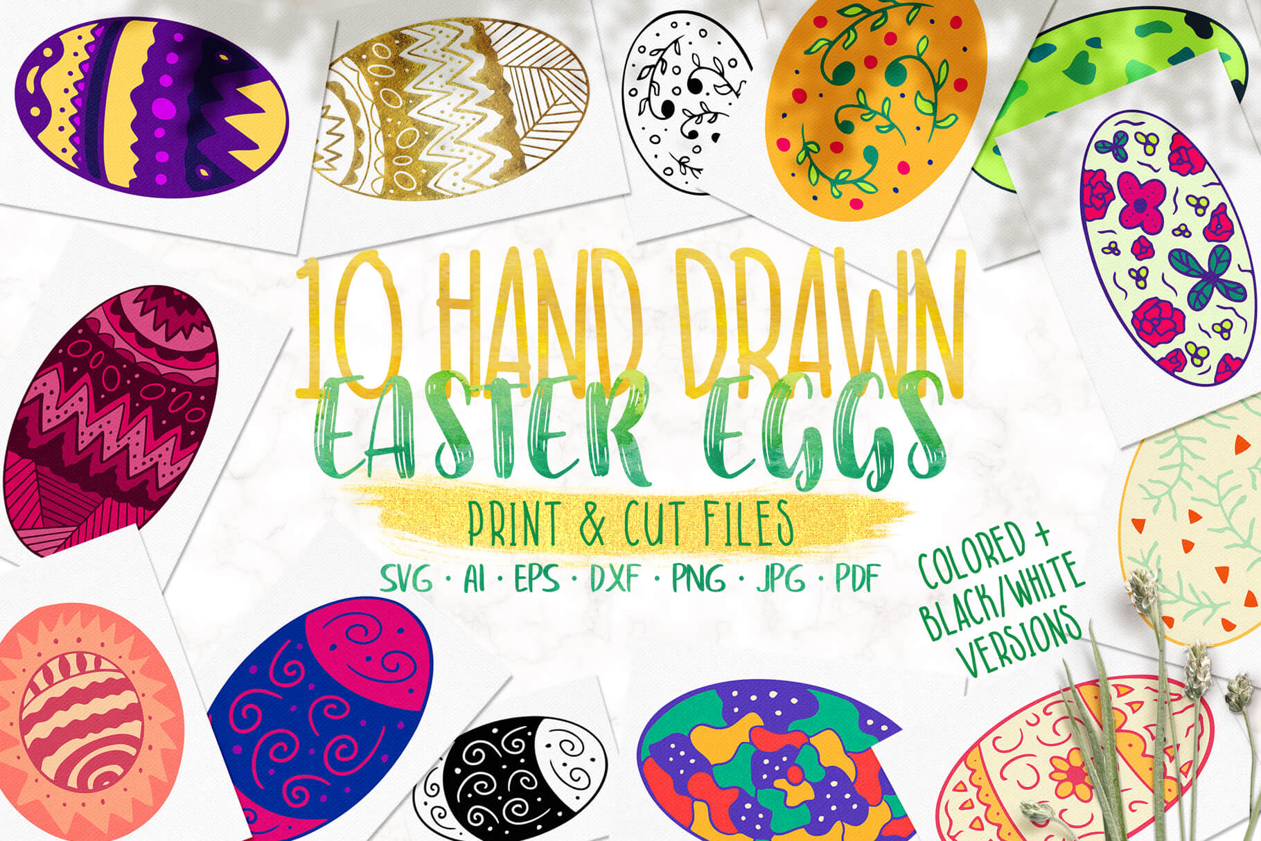 Download Free Ten Hand Drawn Easter Eggs Graphic By Jonas Stensgaard SVG Cut Files