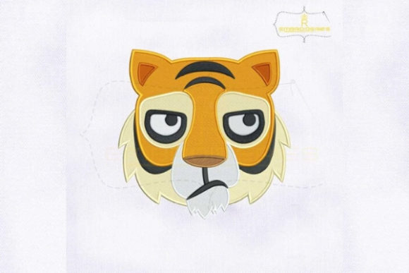 Tiger Face Emoji Wild Animals Embroidery Design By RoyalEmbroideries