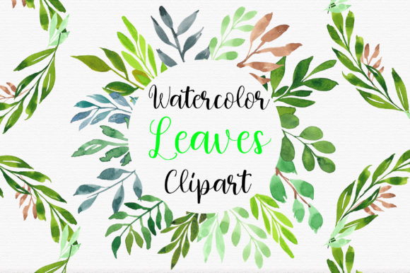 Watercolor Botanical Leaves Clipart Graphic Illustrations By PinkPearly