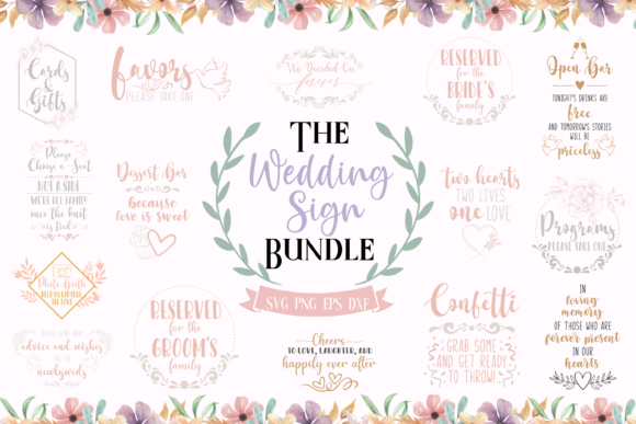 Download Free The Wedding Sign Bundle Graphic By Graphipedia Creative Fabrica for Cricut Explore, Silhouette and other cutting machines.