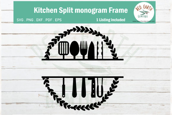 Wreath Kitchen Split Monogram Frame Graphic By Redearth And