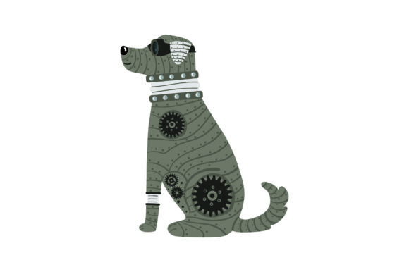 Steampunk Dog Steampunk Plotterdatei von Creative Fabrica Crafts
