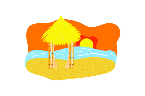 Download Free Tiki Hut On Beach With Sunset Svg Cut File By Creative Fabrica SVG Cut Files